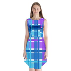 Gingham Pattern Blue Purple Shades Sleeveless Chiffon Dress