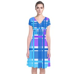 Gingham Pattern Blue Purple Shades Short Sleeve Front Wrap Dress