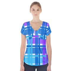 Gingham Pattern Blue Purple Shades Short Sleeve Front Detail Top