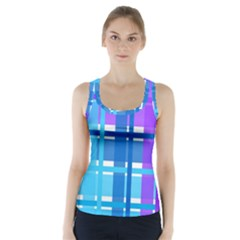 Gingham Pattern Blue Purple Shades Racer Back Sports Top