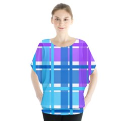 Gingham Pattern Blue Purple Shades Blouse
