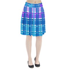 Gingham Pattern Blue Purple Shades Pleated Skirt
