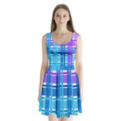 Gingham Pattern Blue Purple Shades Split Back Mini Dress