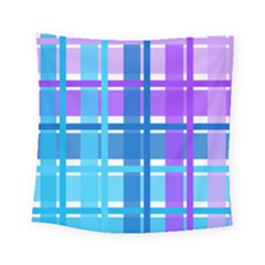 Gingham Pattern Blue Purple Shades Square Tapestry (small)