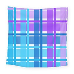 Gingham Pattern Blue Purple Shades Square Tapestry (large)