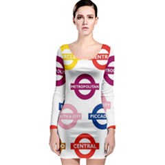 Underground Signs Tube Signs Long Sleeve Bodycon Dress