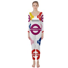 Underground Signs Tube Signs Long Sleeve Catsuit