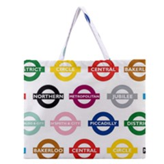 Underground Signs Tube Signs Zipper Large Tote Bag