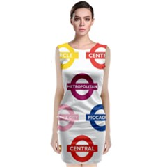 Underground Signs Tube Signs Classic Sleeveless Midi Dress