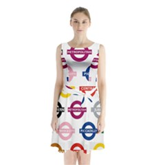 Underground Signs Tube Signs Sleeveless Chiffon Waist Tie Dress