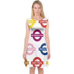 Underground Signs Tube Signs Capsleeve Midi Dress