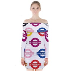 Underground Signs Tube Signs Long Sleeve Off Shoulder Dress