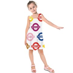Underground Signs Tube Signs Kids  Sleeveless Dress
