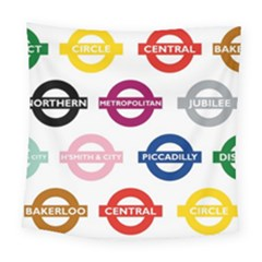 Underground Signs Tube Signs Square Tapestry (large)