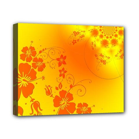 Flowers Floral Design Flora Yellow Canvas 10  X 8