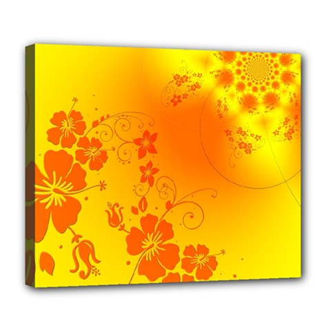 Flowers Floral Design Flora Yellow Deluxe Canvas 24  X 20