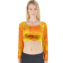 Flowers Floral Design Flora Yellow Long Sleeve Crop Top