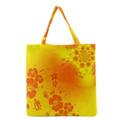Flowers Floral Design Flora Yellow Grocery Tote Bag