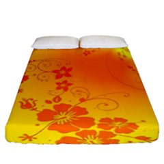 Flowers Floral Design Flora Yellow Fitted Sheet (king Size)