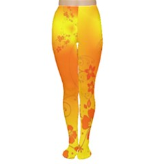 Flowers Floral Design Flora Yellow Women s Tights