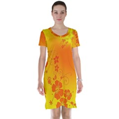Flowers Floral Design Flora Yellow Short Sleeve Nightdress