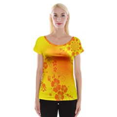 Flowers Floral Design Flora Yellow Women s Cap Sleeve Top