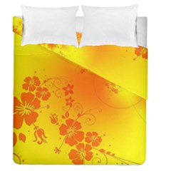 Flowers Floral Design Flora Yellow Duvet Cover Double Side (queen Size)
