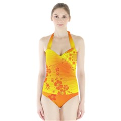 Flowers Floral Design Flora Yellow Halter Swimsuit