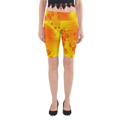 Flowers Floral Design Flora Yellow Yoga Cropped Leggings