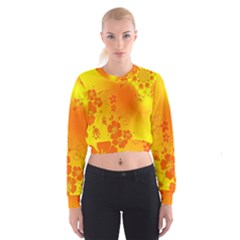 Flowers Floral Design Flora Yellow Women s Cropped Sweatshirt