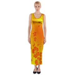 Flowers Floral Design Flora Yellow Fitted Maxi Dress