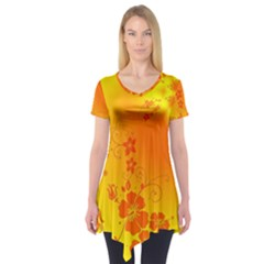 Flowers Floral Design Flora Yellow Short Sleeve Tunic