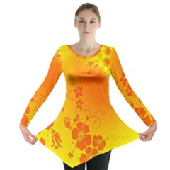 Flowers Floral Design Flora Yellow Long Sleeve Tunic