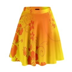 Flowers Floral Design Flora Yellow High Waist Skirt