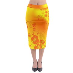 Flowers Floral Design Flora Yellow Midi Pencil Skirt