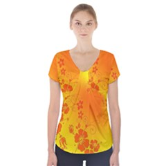 Flowers Floral Design Flora Yellow Short Sleeve Front Detail Top