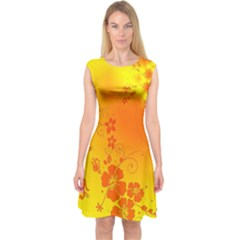 Flowers Floral Design Flora Yellow Capsleeve Midi Dress