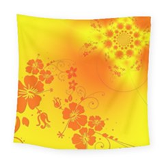 Flowers Floral Design Flora Yellow Square Tapestry (large)