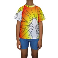 Spirituality Man Origin Lines Kids  Short Sleeve Swimwear