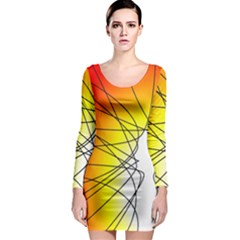 Spirituality Man Origin Lines Long Sleeve Bodycon Dress