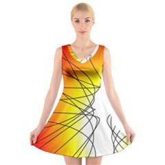 Spirituality Man Origin Lines V Neck Sleeveless Skater Dress
