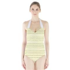 Background Pattern Lines Halter Swimsuit