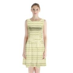 Background Pattern Lines Sleeveless Chiffon Waist Tie Dress