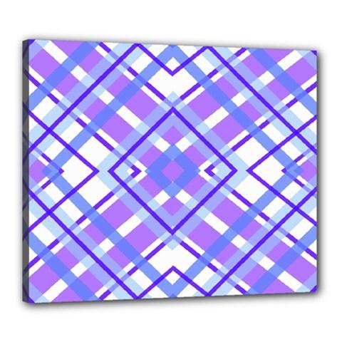 Geometric Plaid Pale Purple Blue Canvas 24  X 20