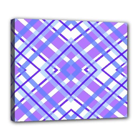 Geometric Plaid Pale Purple Blue Deluxe Canvas 24  X 20