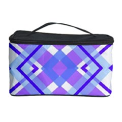 Geometric Plaid Pale Purple Blue Cosmetic Storage Case