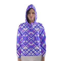 Geometric Plaid Pale Purple Blue Hooded Wind Breaker (women)
