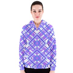 Geometric Plaid Pale Purple Blue Women s Zipper Hoodie