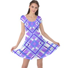 Geometric Plaid Pale Purple Blue Cap Sleeve Dresses