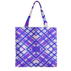 Geometric Plaid Pale Purple Blue Zipper Grocery Tote Bag